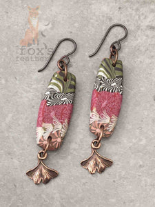 Folk Art Ginkgo Earrings Raspberry
