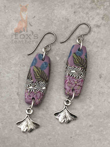 Folk Art Ginkgo Earrings Violet