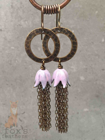 Chain Tassel Earrings Pink