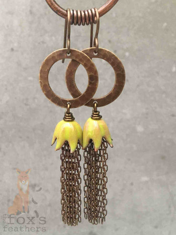 Chain Tassel Earrings Yellow