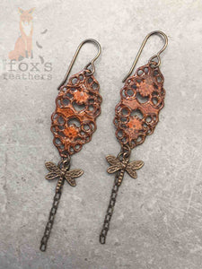 Filigree Dragonfly Earrings Chestnut