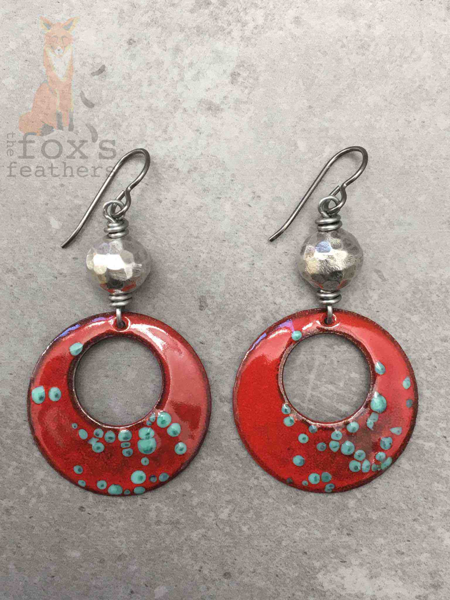 Hoops and Silver Earrings Spotted Red