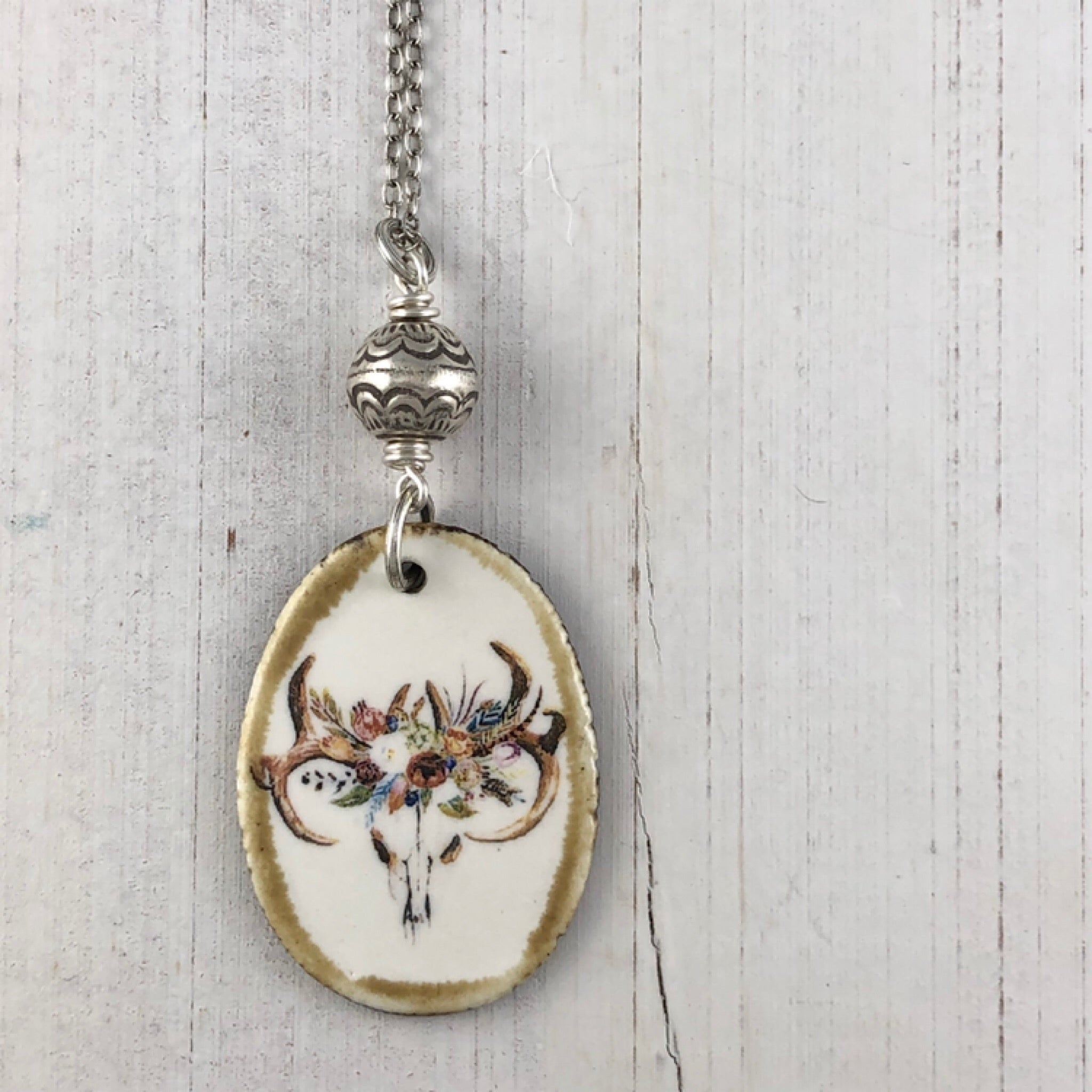 Into the Woods Necklace Floral Steer Skull