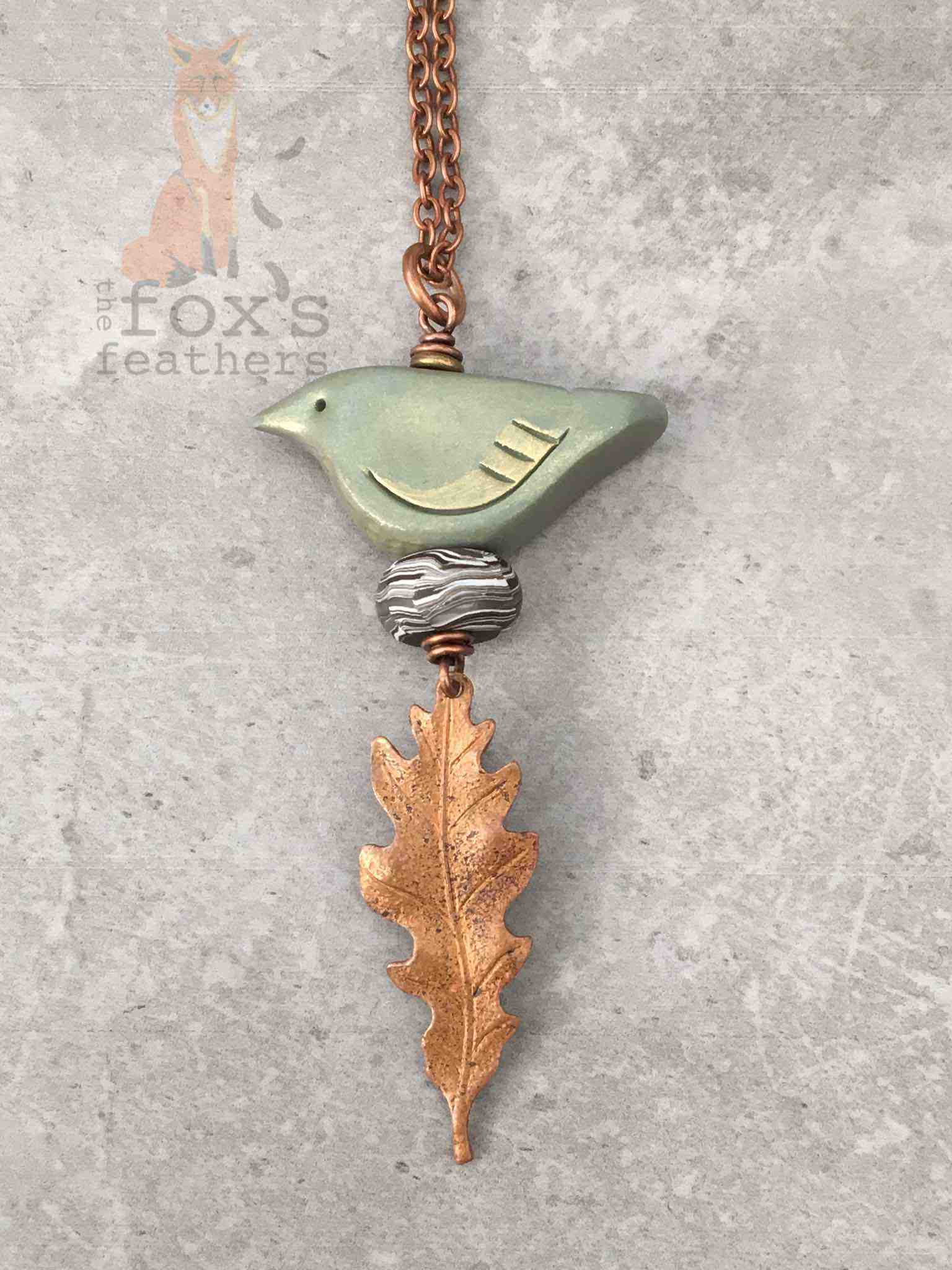 Woodland Bird Necklace Sage
