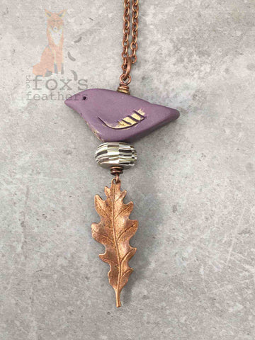 Woodland Bird Necklace Violet