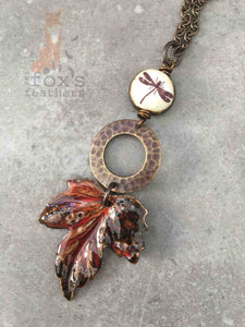 Maple Leaf Necklace Dragonfly