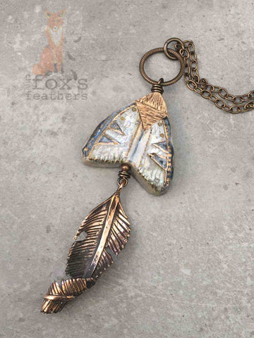 Rustic Moth Necklace
