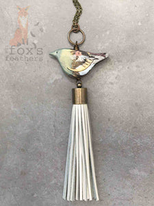 Forest Bird Tassel Necklace Sage