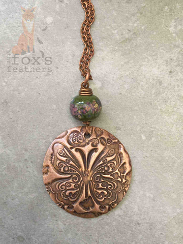 Copper Butterfly Necklace Forest