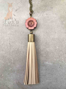 Flower Tassel Necklace Blush