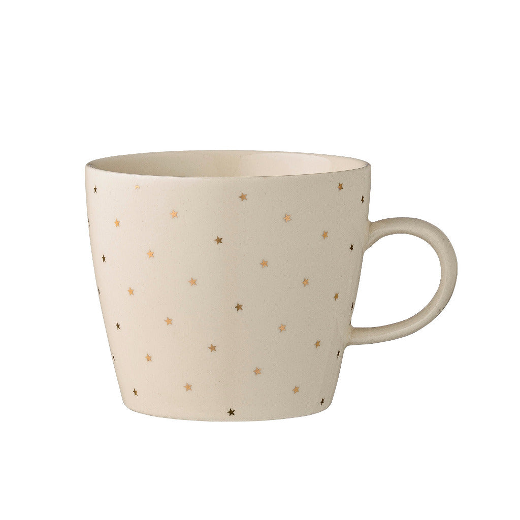 Off-White & Gold Star Print Mug