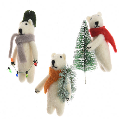 Woolly Polar Bear Christmas Decoration