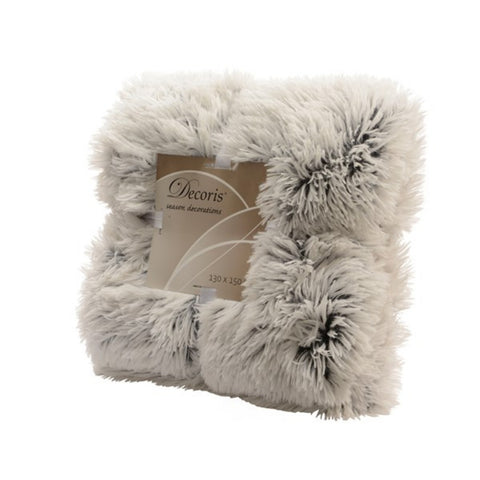 Grey/White Fake Fur Throw Blanket
