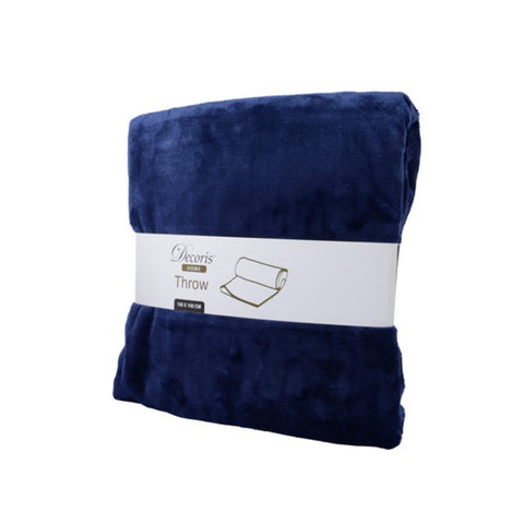Deep Blue Fleece Throw Blanket
