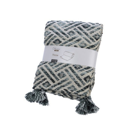 Diamond Chambray Grey-Green Throw Blanket