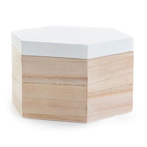 White Wooden Hexagonal Box