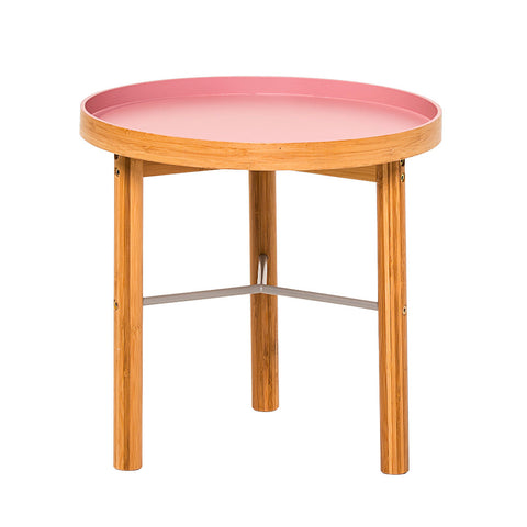 Dusky Pink & Wood Side Table