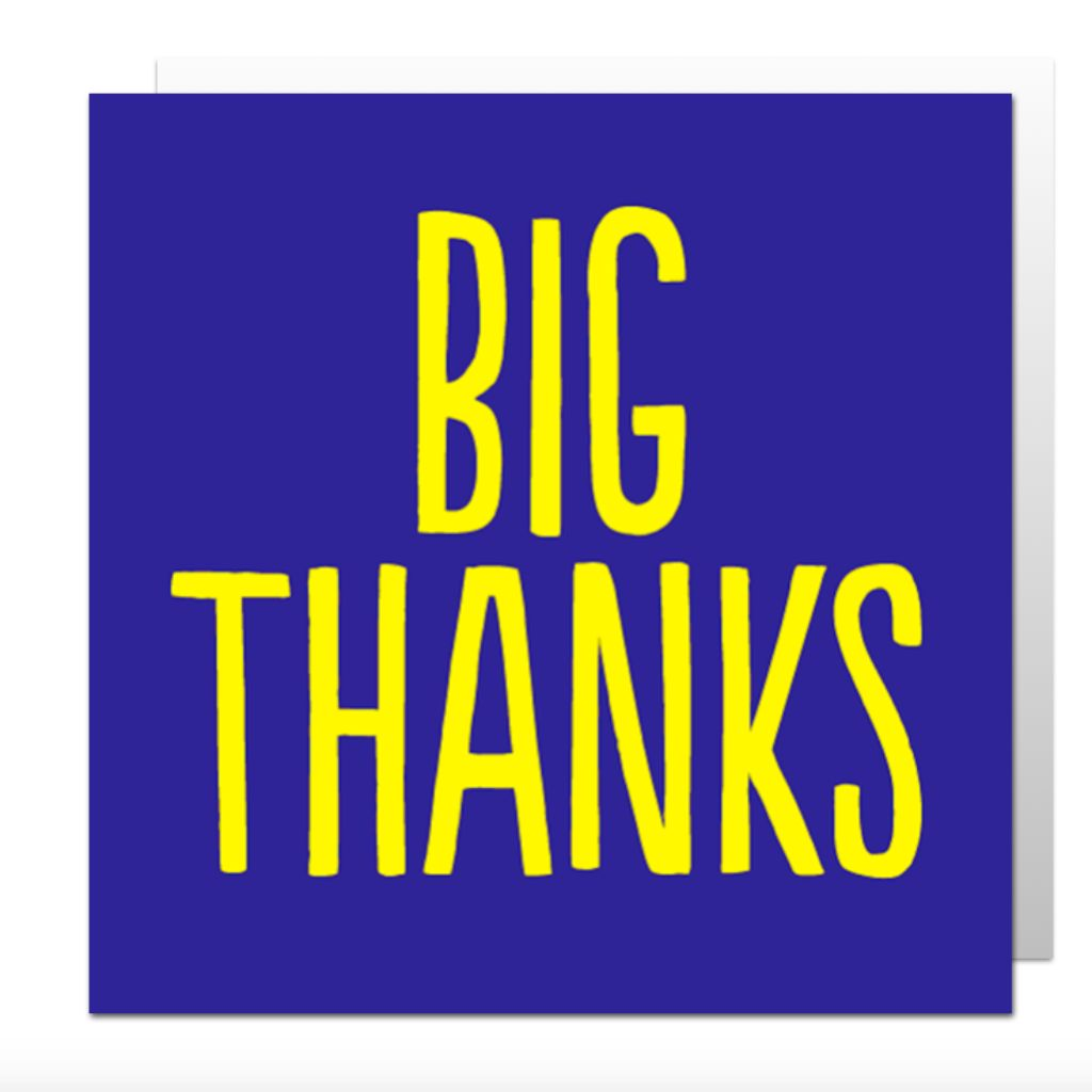 Big Thanks Greetings Card Lily Loves Shopping