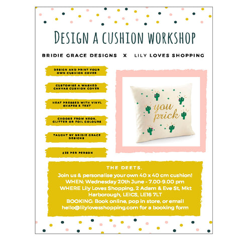 Design A Cushion Workshop - Weds 20th June