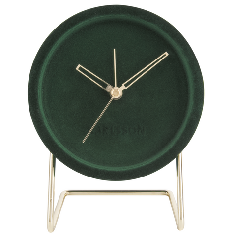 Dark Green Velvet Alarm Clock