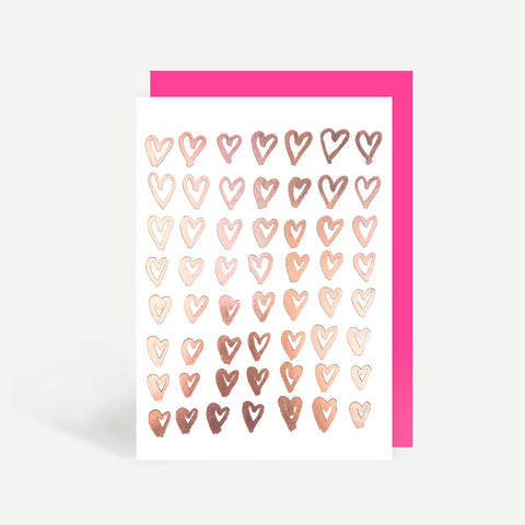 Rose Gold Hearts Greetings Card