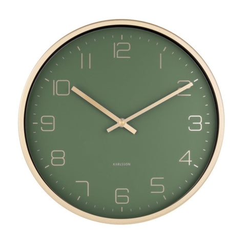 Dark Green & Gold Wall Clock