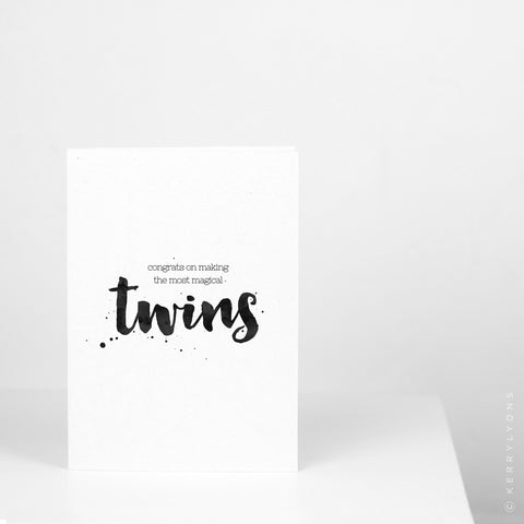 Congrats Magical Twins Greetings Card