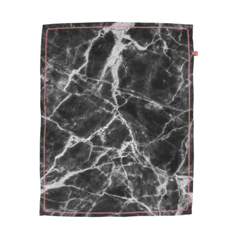 Black Marble Print Tea Towel