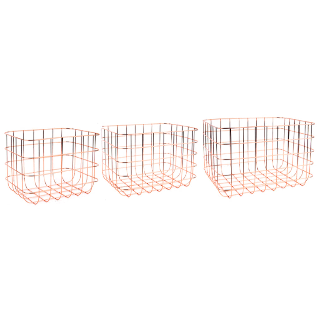 Rose Gold Rectangular Wire Basket