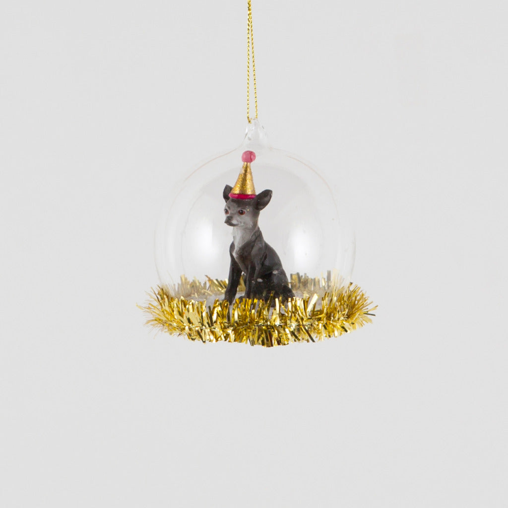 Party Chihuahua Tinsel Trim Bauble