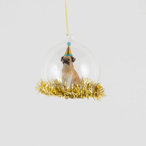 Party Pug Tinsel Trim Bauble