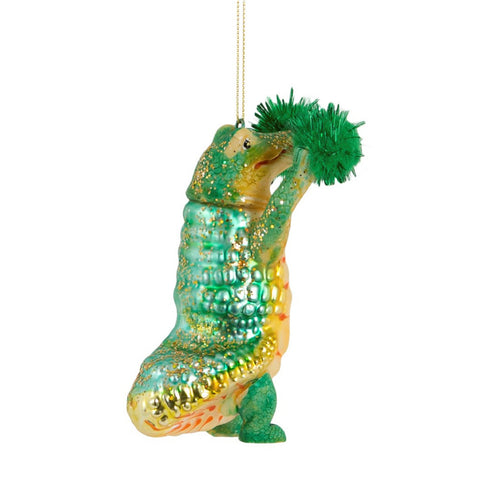 Alligator Pom Pom Christmas Bauble