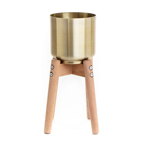 Small Gold Metal Planter With Stilts