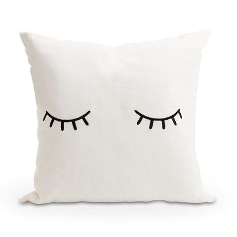 White Sleepy Eyes Cushion