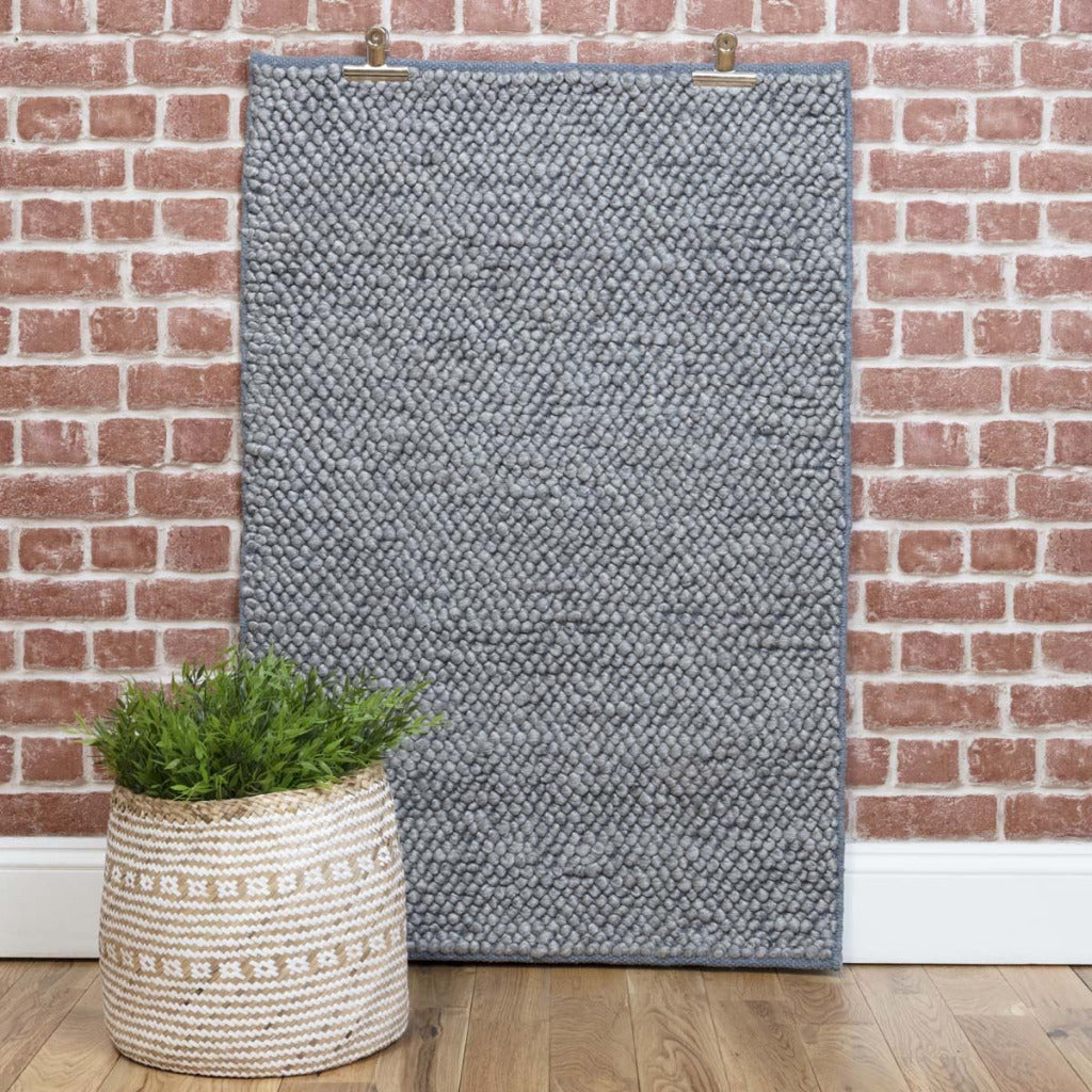 Smoke Grey Loop Wool Rug