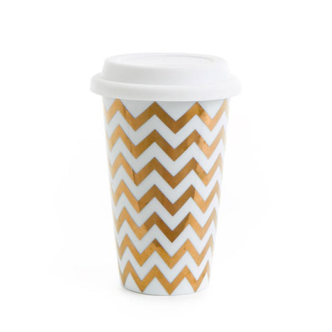 Gold Chevron Travel Mug