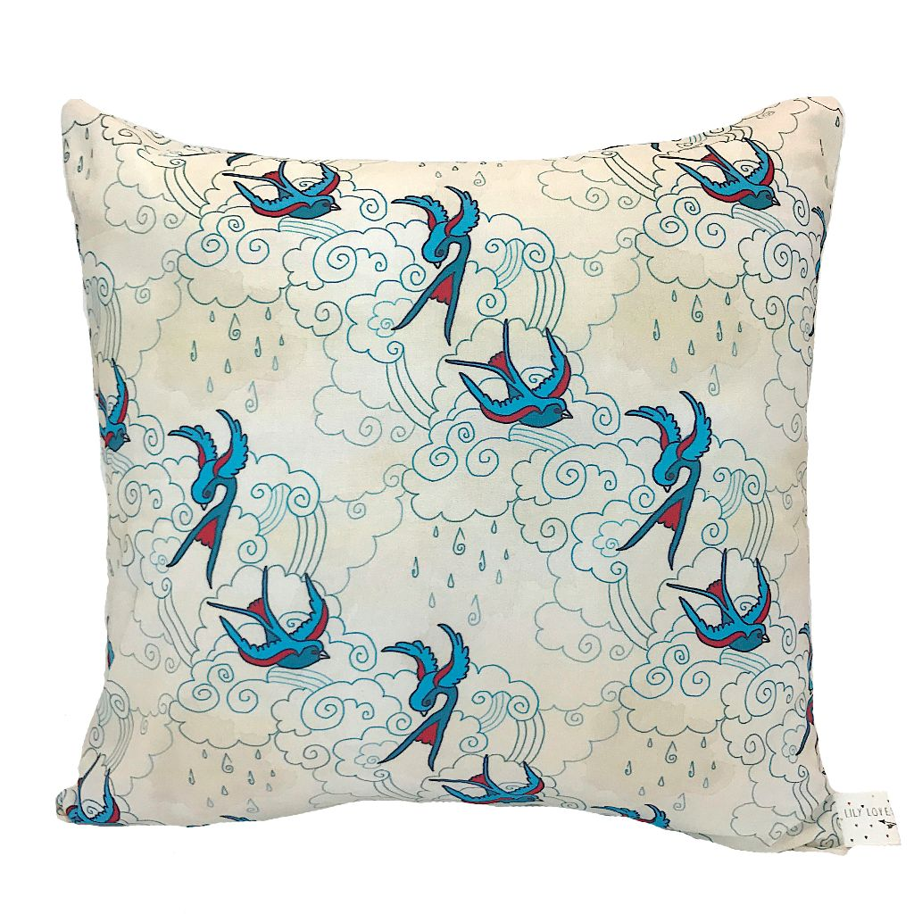 Swallow Print Handmade Cushion