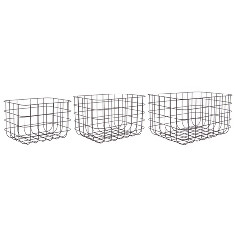Black Rectangular Wire Basket