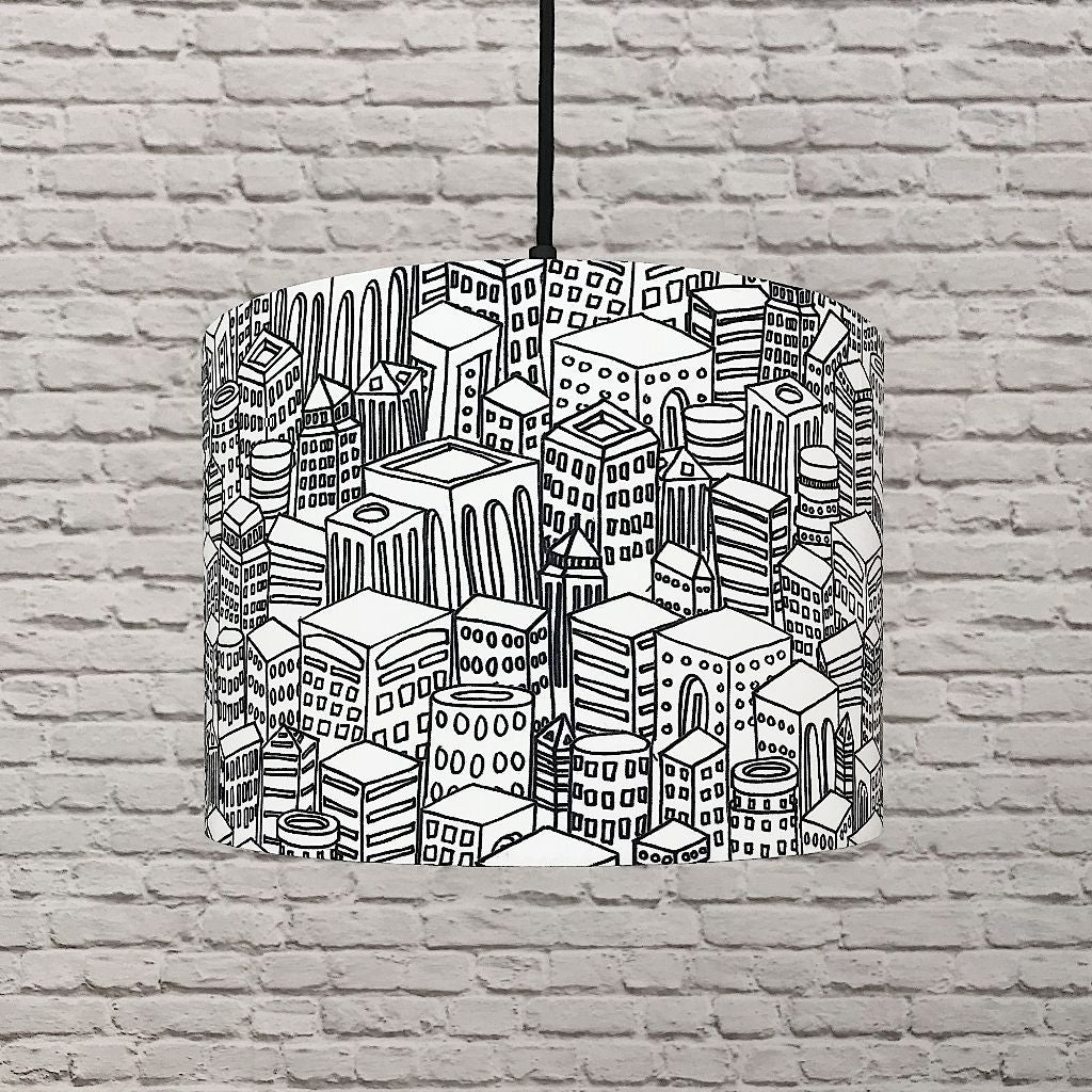 Black & White City Print Lampshade
