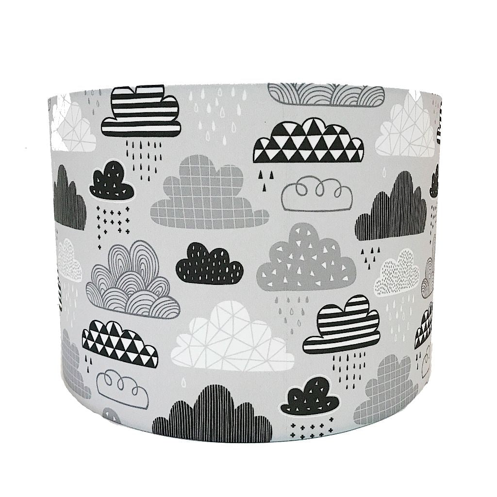 Grey Cloud Print Handmade Lampshade