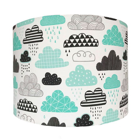 Mint Cloud Print Handmade Lampshade
