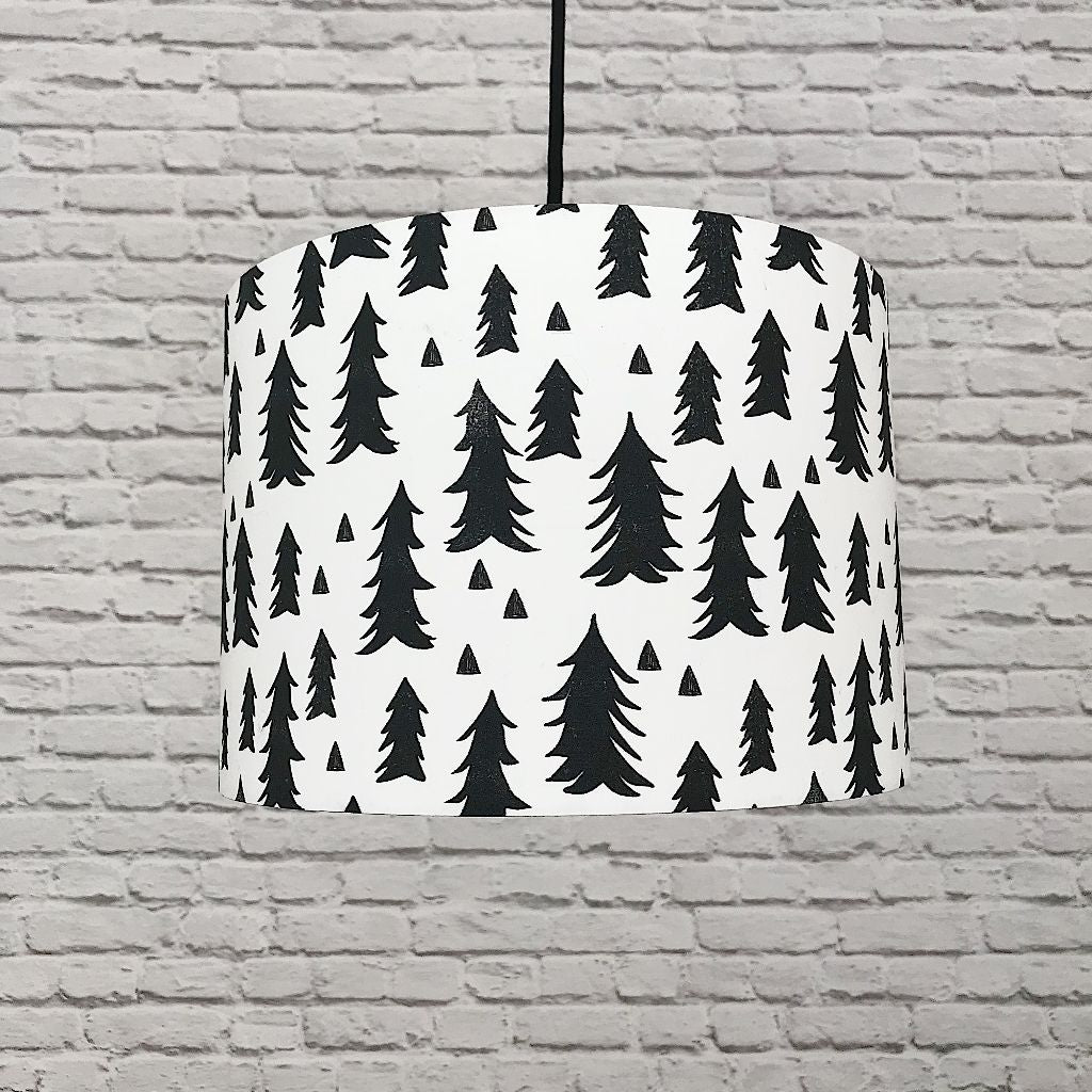 Monochrome Fir Tree Lampshade