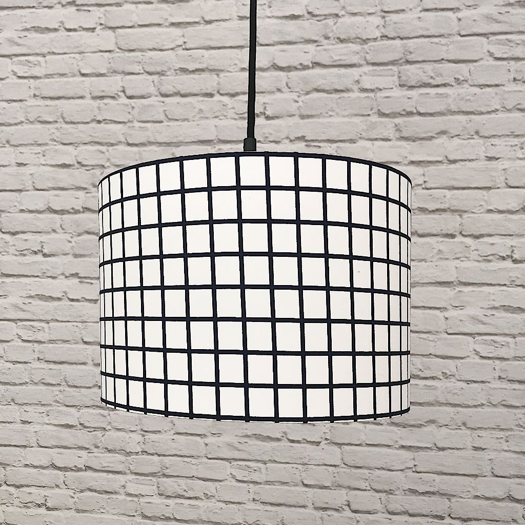 Midnight & White Grid Print Lampshade