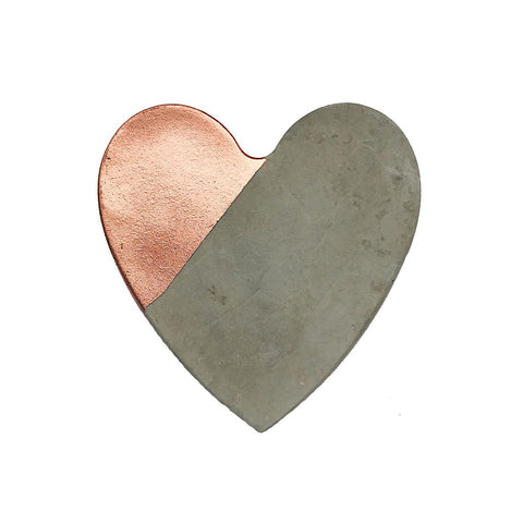 Concrete & Rose Gold Heart