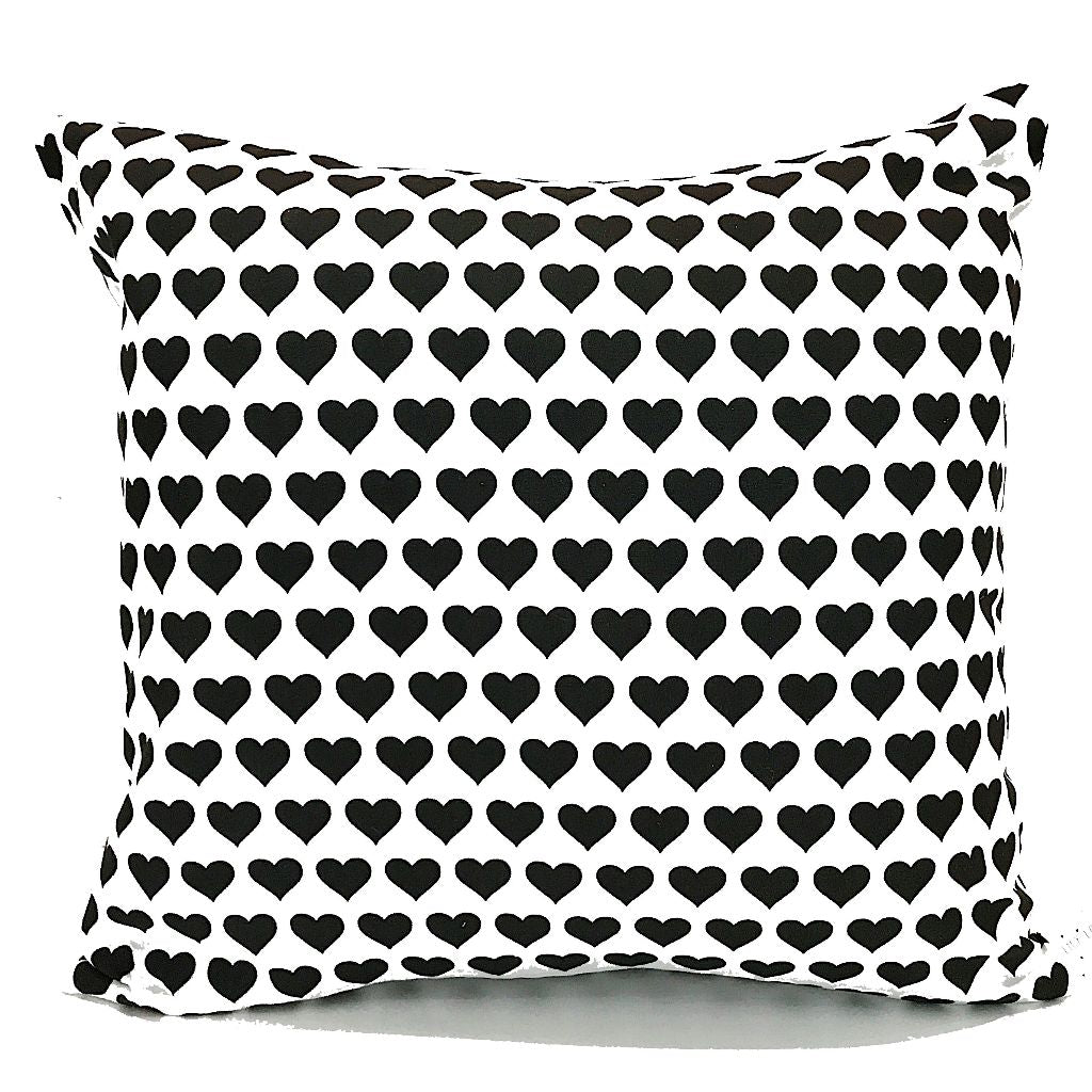 Monochrome Heart Print Handmade Cushion