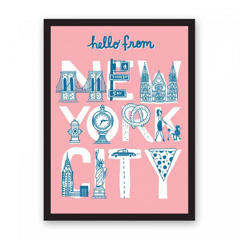 Hello From New York City A3 Print