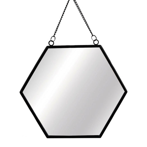 Black Hexagonal Mirror