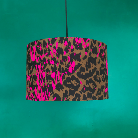 Leopard Print Pink Detail 40cm Lampshade