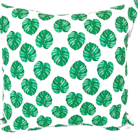 Green Monstera Leaf Handmade Cushion