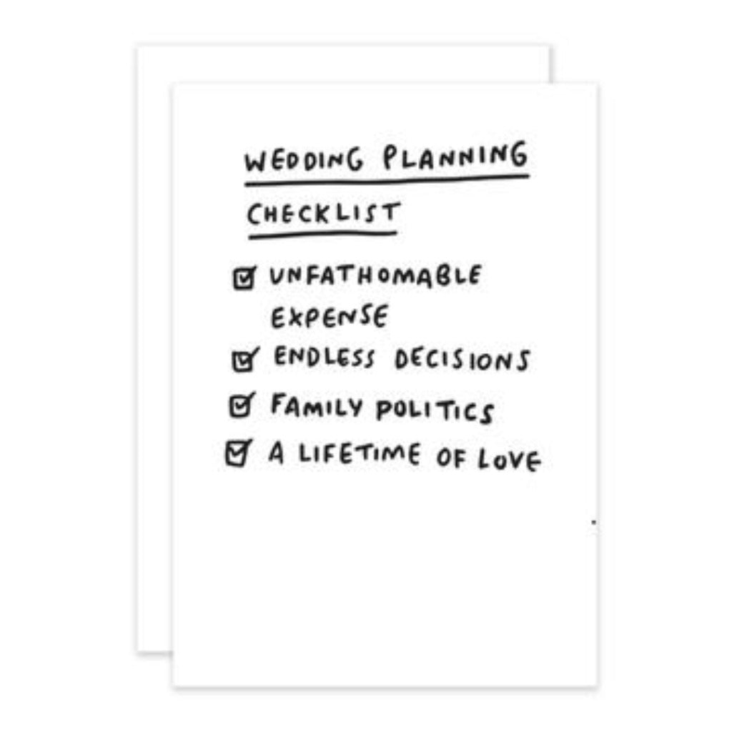 Checklist Wedding Greetings Card Lily Loves Shopping
